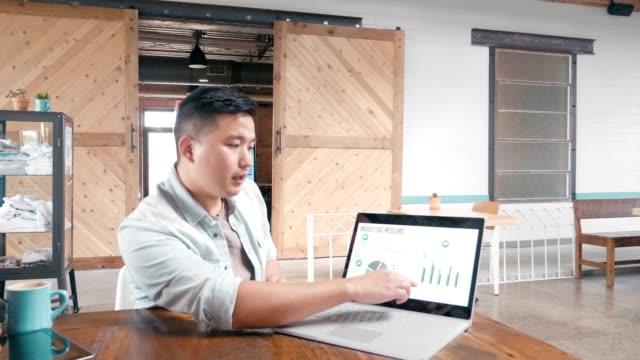 ung affärsman ger marknadsföring presentation till medarbetare - lyssna bildbanksvideor och videomaterial från bakom kulisserna