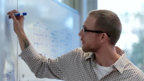 vídeos y material grabado en eventos de stock de young businessman writes on conference-room white-board (dolly shot) - maestro