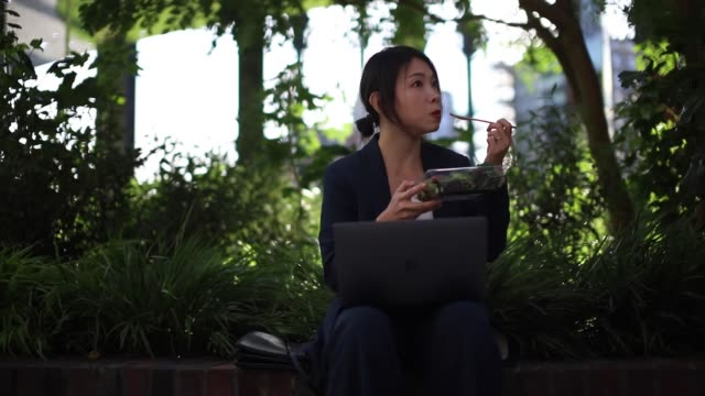 young businesswoman working with laptop, having lunch break at the park - 昼食点の映像素材/bロール