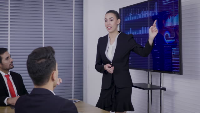 young businesswomen showing presentation to his colleagues at conference room - audio electronics stock videos and b-roll footage