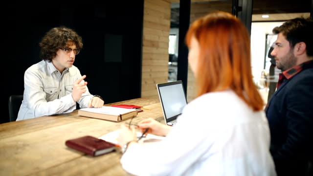 Young candidate nervous at job interview