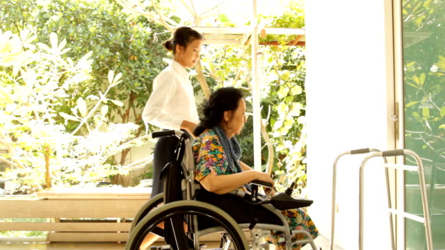 young caregiver helping elderly woman on wheelchair