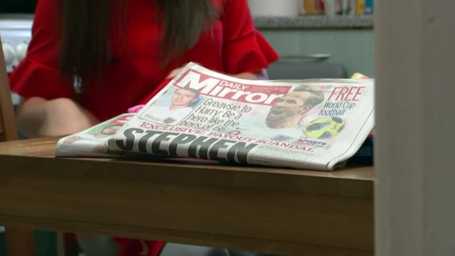 young carer helped by the england footballers foundation talks of the time she met harry kane england london barnet int copy of the daily mirror... - 刊行物点の映像素材/bロール