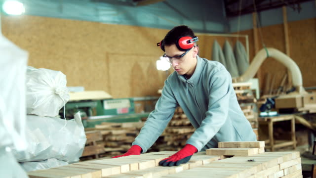 Young carpenter working in workshop