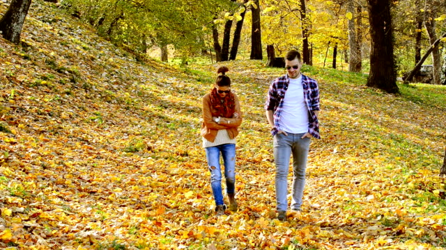 Young casual couple walking in park and talking
