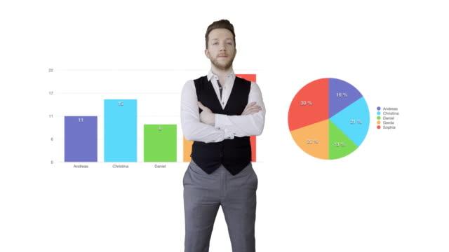 vídeos y material grabado en eventos de stock de young caucasian businessman analyzing financial charts. investment sales person looking at business data statistics - aumento digital
