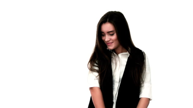 young cheerful girl flirts with camera smiling - shy stock videos & royalty-free footage