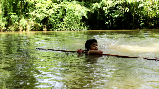 young child learn swimming in the pond in a rural area of bangladesh on august 02, 2020. 30 drown every day or 12,000 children drown annually in... - pond stock videos & royalty-free footage
