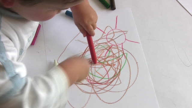 young child with wax crayons hd - scribble stock videos & royalty-free footage