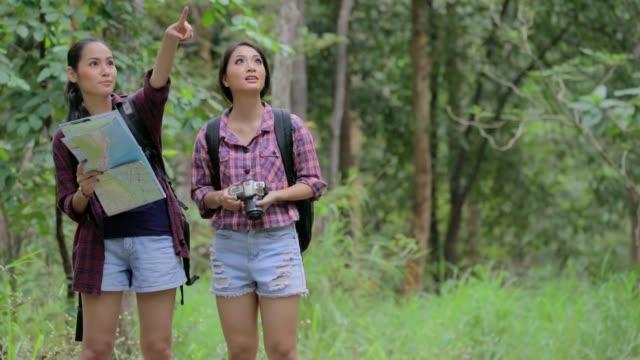 Jong koppel een wandelen in het bos, slow-motion