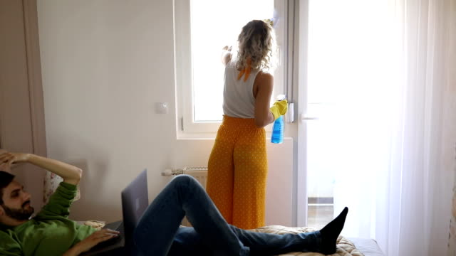 young couple at home - routine video stock e b–roll