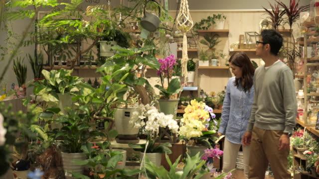 若いカップルが花を買いに来てください。 - 買う点の映像素材/bロール