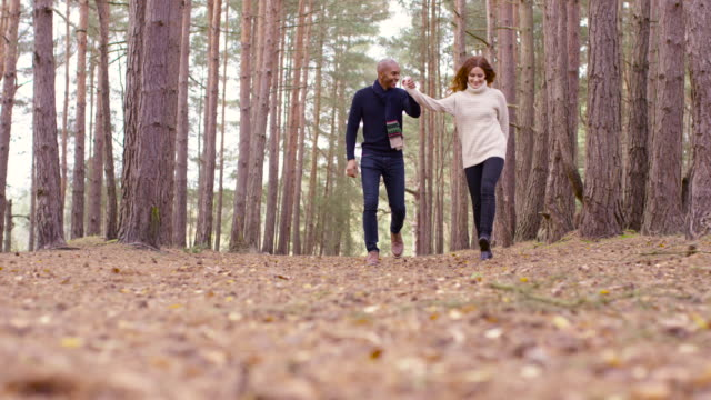 a young couple communing with nature on a forest walk in autumn - 20 seconds or greater stock videos & royalty-free footage