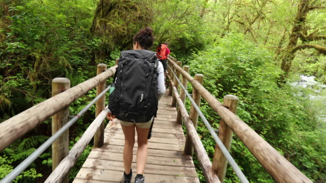 slo mo young couple crossing bridge on backpacking trail - pacific northwest usa stock videos & royalty-free footage