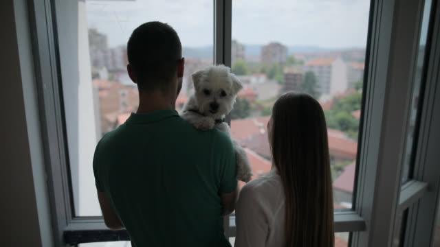 彼らの犬と彼らの新しい家のバルコニーで空想若いカップル - 窓越し点の映像素材/bロール