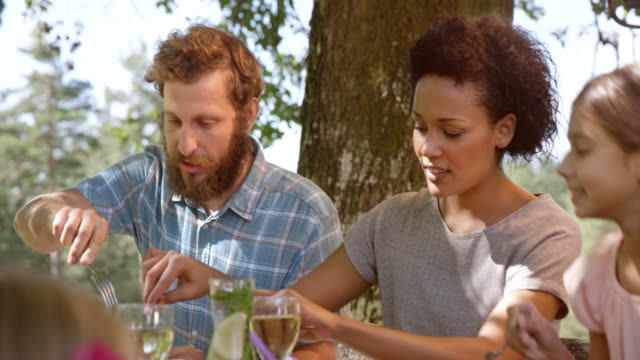 young couple eating at family picnic - picnic stock videos and b-roll footage