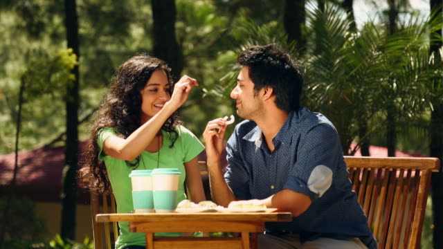 Young couple eating breakfast, Solan, Himachal Pradesh