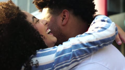 young couple embracing at city - falling in love stock videos & royalty-free footage