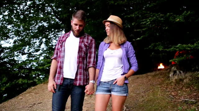 Young couple enjoy nature and vacation