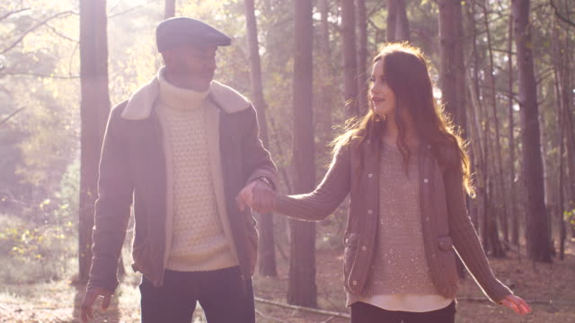 a young couple enjoying a forest walk in autumn - cardigan sweater stock videos & royalty-free footage