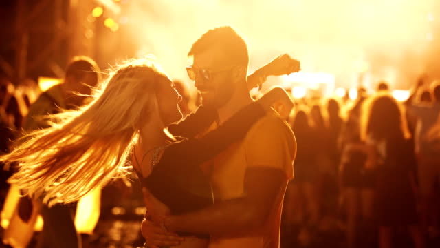 young couple enjoying concert - serbia stock videos & royalty-free footage