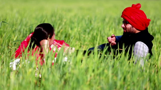 young couple enjoying in nature - punjab india stock videos and b-roll footage