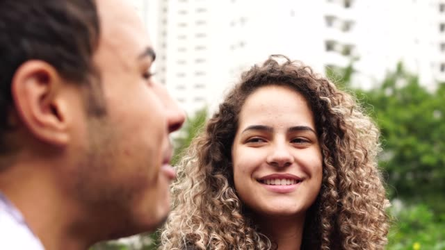 young couple / friends talking - pardo brazilian stock videos & royalty-free footage