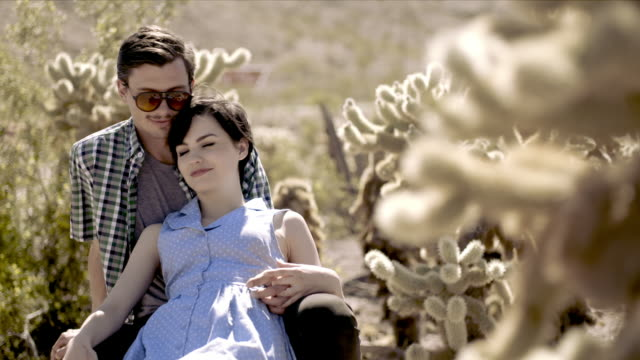 young couple hold hands and nuzzle in cactus grove - cute cactus stock videos & royalty-free footage