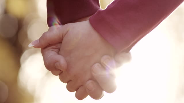 young couple holding hands in park - holding hands stock videos & royalty-free footage