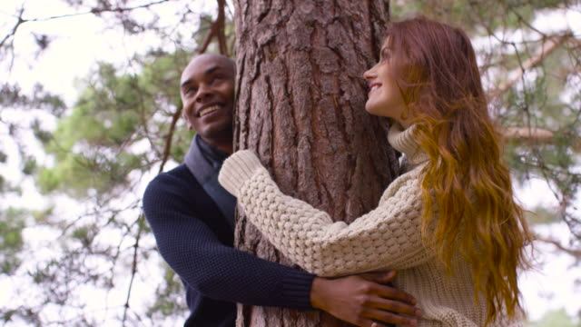 a young couple hugging a tree during a forest walk in autumn - tree hugging stock videos & royalty-free footage