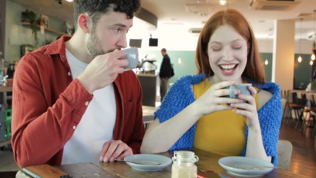 young couple in a cafe - dating stock videos & royalty-free footage