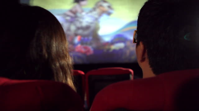 cu young couple in cinema house / seoul, south korea - projection screen stock videos & royalty-free footage