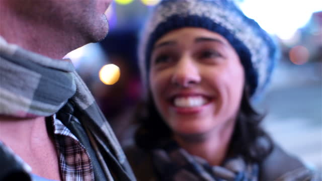 Young couple in love freak out in Times Square