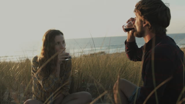 Young couple in love toasting with red wine on picnic blanket on dune at beach at Atlantic ocean in the south of France
