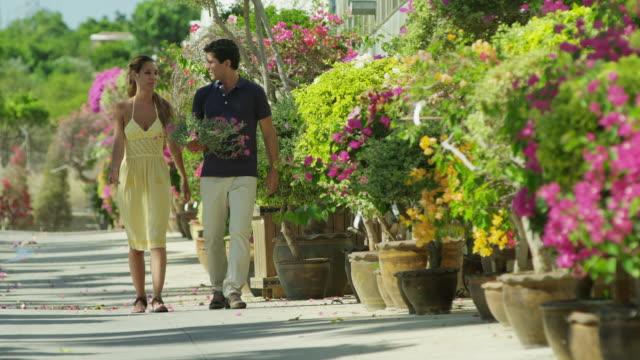 vídeos de stock, filmes e b-roll de ls young couple in summer dress walking along line of flowering plants, man carrying a plant - homens de idade mediana