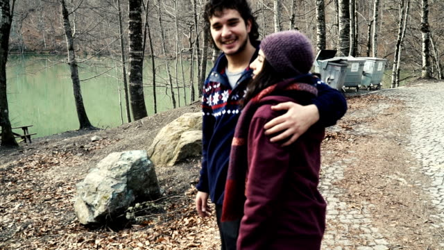 hd: young couple in the forest - hugging self stock videos & royalty-free footage