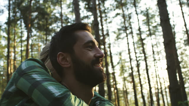 young couple in the forest - beard stock videos & royalty-free footage