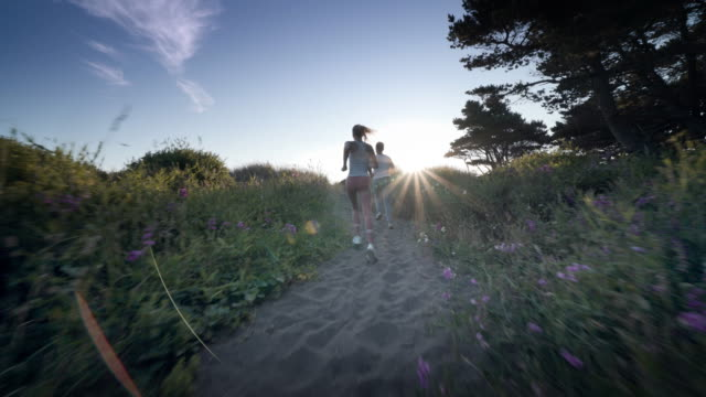 vidéos et rushes de young couple jogging through forest at sunset, bandon, oregon - s'entraîner