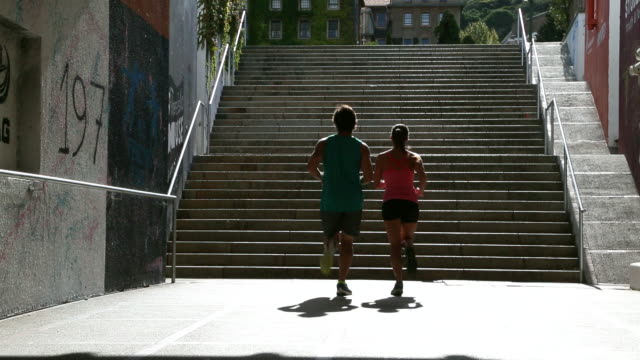 Young couple jogging together