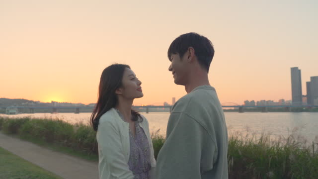 young couple kissing next to the han river during sunset - korean ethnicity stock videos & royalty-free footage