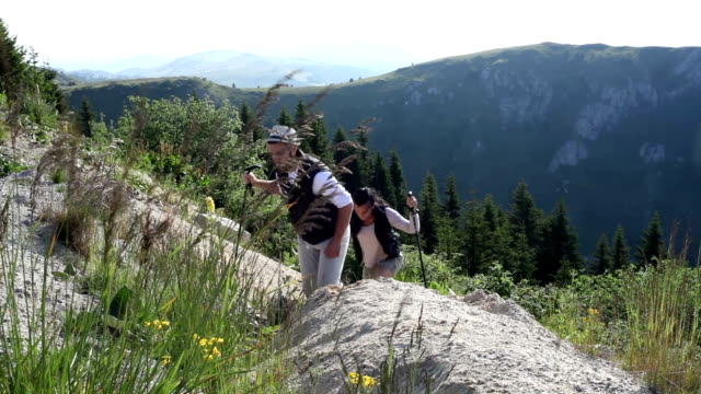 young couple on hiking