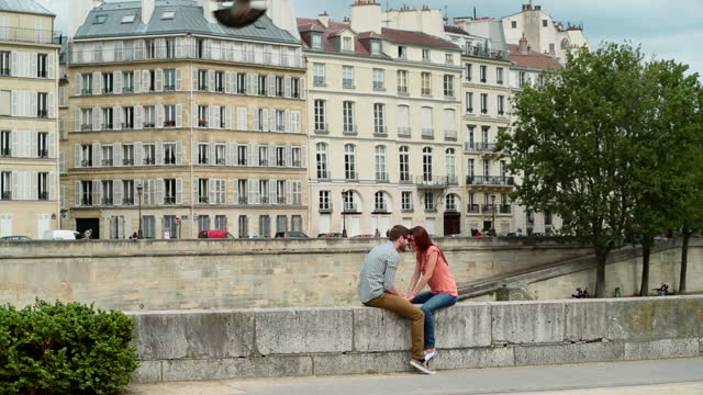 young couple on romantic parisian getaway nuzzle on a wall overlooking the seine and the quai d‰ûªorleans as birds fly overhead. - デート点の映像素材/bロール