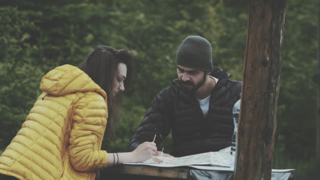 Young couple planning their trip with map