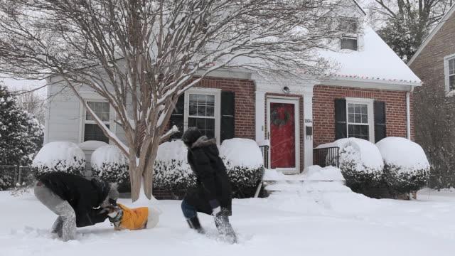 vídeos y material grabado en eventos de stock de ws young couple playing with dog in snow storm, having snowball fight / richmond, virginia, usa - cuarenta segundos o más