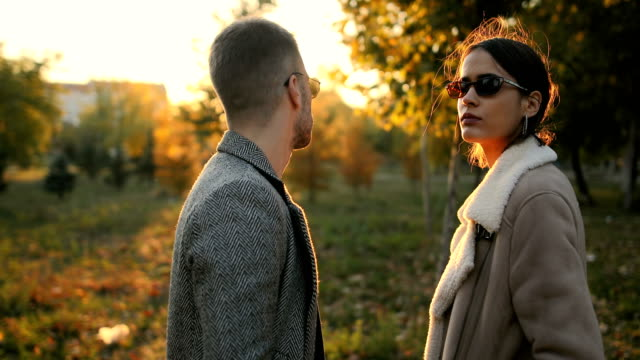 若いカップルが公園でポーズをとる - 談笑する点の映像素材/bロール