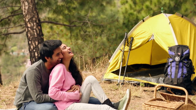 young couple romancing at hill station, solan, himachal pradesh - wanderstock stock-videos und b-roll-filmmaterial