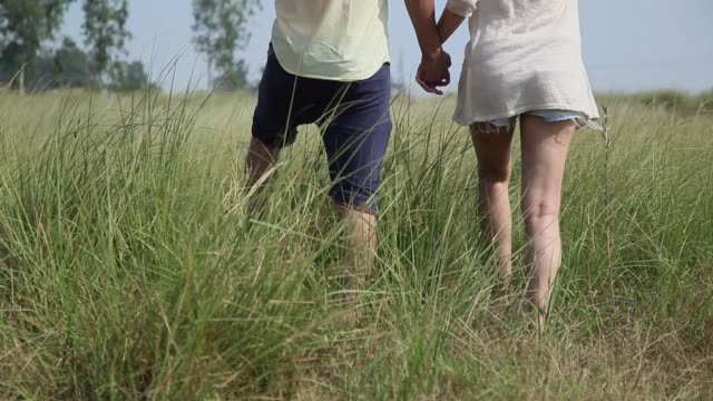 young couple romancing in the forest, haryana, india - haryana stock-videos und b-roll-filmmaterial
