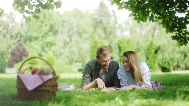 young couple spending romantic time together on picnic in the nature - hamper stock videos and b-roll footage