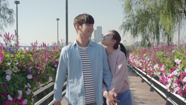 vídeos de stock, filmes e b-roll de young couple strolling along a flower bed in the han river park - de braços dados