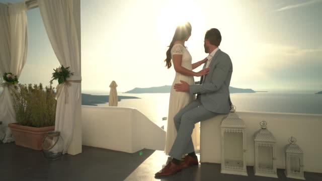 young couple sunset romance